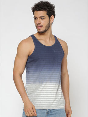 Blue Colour Blocked Striped Slim Fit Tank Top