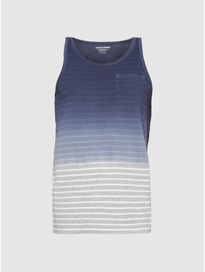 Blue Colour Blocked Striped Slim Fit Tank Top
