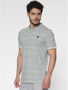 Grey Printed Polo Neck T-Shirt