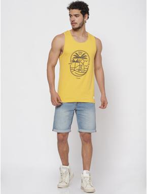 Yellow Graphic Print Tank Top