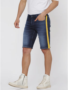 Blue Side Tape Detail Slim Fit Denim Shorts