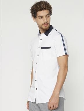 White Tape Detail Short Sleeves Shirt