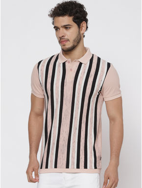 Pink Striped Polo Neck T-shirt