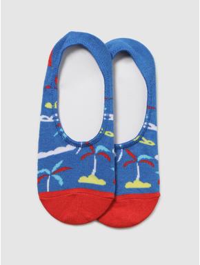 Blue Printed No Show Socks