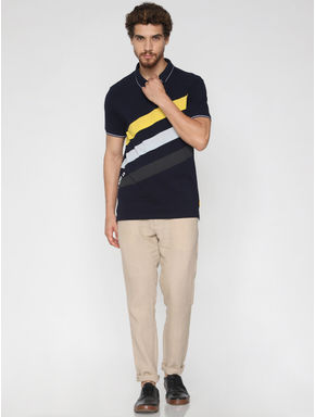 Navy Blue Printed Polo Neck T-shirt