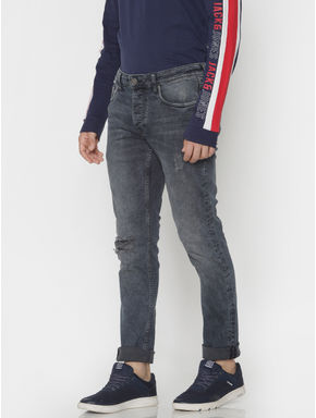 Blue Washed Distressed Glenn Slim Fit Jeans