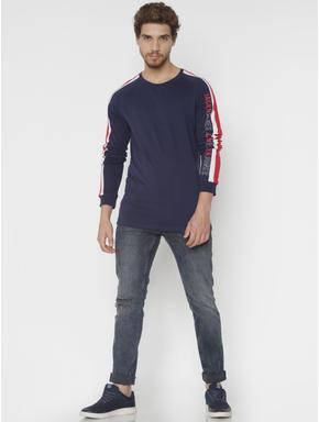 Blue Washed Distressed Glenn Slim Fit Jeans