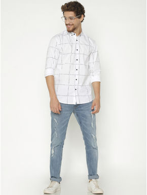 White Checks Slim Fit Full Sleeves Shirt