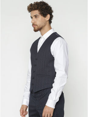 Navy Blue Striped Waistcoat