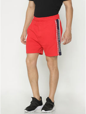 Red Tape Detail Sweatshorts