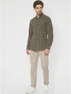 Green Check Slim Fit Full Sleeves Shirt