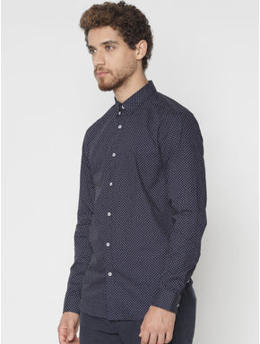 Navy Blue Printed Slim Fit Full Sleeves Shirt