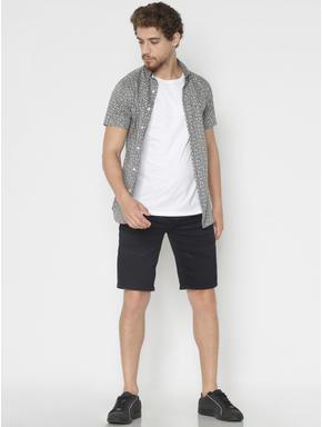 Grey Printed Slim Fit Short Sleeves Shirt