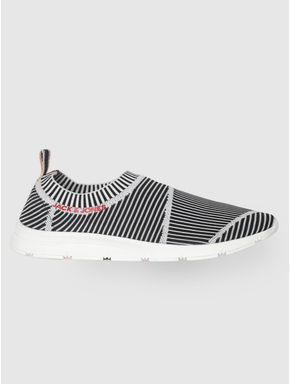 White Striped Slip On Sneakers