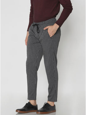 Black Striped Drawstring Pants