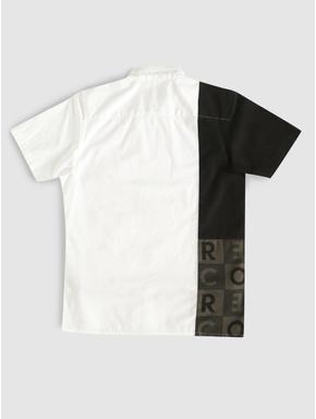 Junior White Colour Blocked Printed Shirt