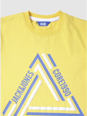 Junior Yellow Text Print Crew Neck T-shirt