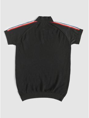 Junior Black Tape Detail Polo Neck T-shirt