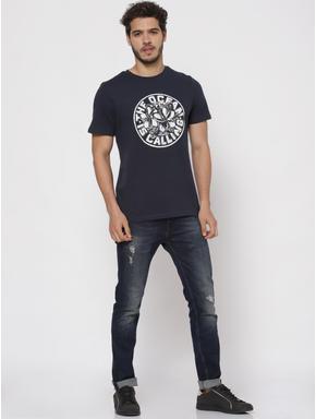 Blue Typographic Print Crew Neck T-shirt