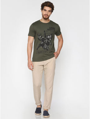 Green Graphic Print Crew Neck T-shirt