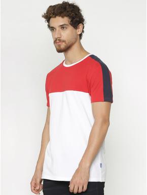 White Colour Blocked Crew Neck T-shirt