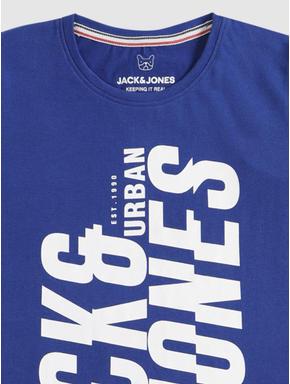 Junior Blue Text Print Crew Neck T-shirt