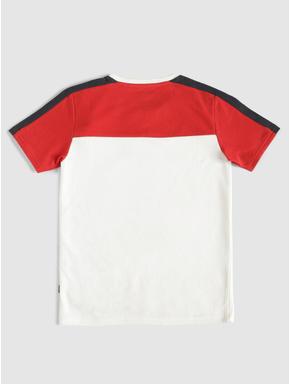 Junior White Colour Blocked Crew Neck T-shirt