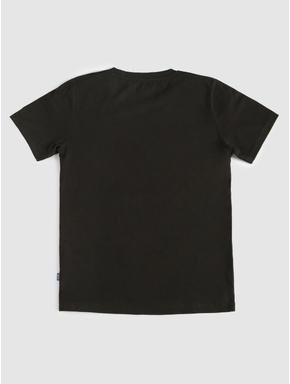 Junior Black Chest Print Crew Neck T-shirt