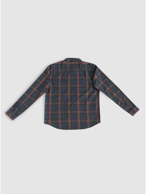 Junior Dark Blue Check Full Sleeves Shirt