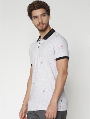White Printed Polo Neck T-shirt