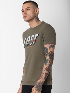 Green Lost Text Print Crew Neck T-shirt
