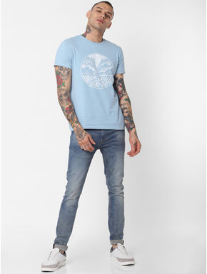 Light Blue Graphic Print Crew Neck T-shirt