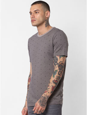 Grey Printed Crew Neck T-shirt