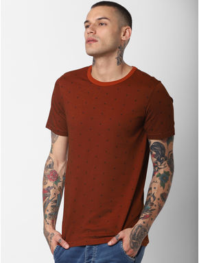 Brown Printed Crew Neck T-shirt