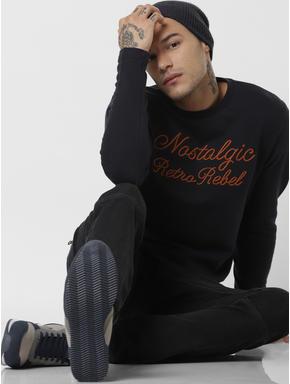 Dark Navy Embroidered Text Sweatshirt