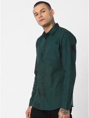 Green Splash Print Full Sleeves Shirt