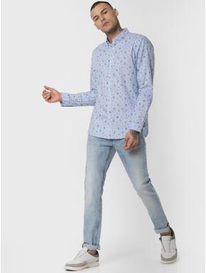 Blue Logo Print Full Sleeves Shirt