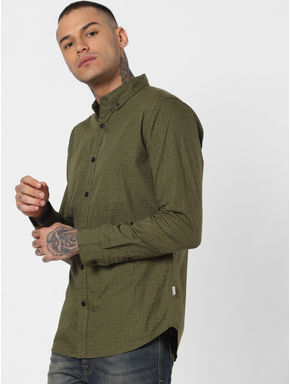 Green All Over Print Full Sleeves Shirt