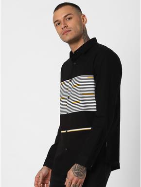 Black Striped Full Sleeves Shirt