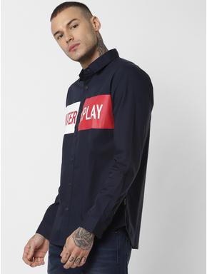 Navy Blue Patch Print Full Sleeves Shirt