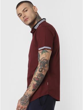 Burgundy Contrast Tipping Short Sleeves Shirt
