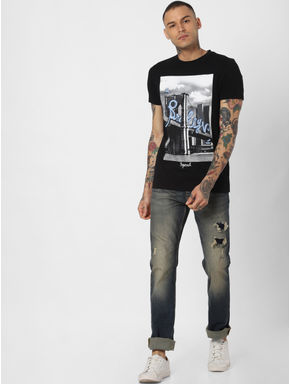Blue Washed Ripped Clark Slim Jeans