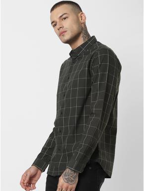 Dark Green Check Full Sleeves Shirt