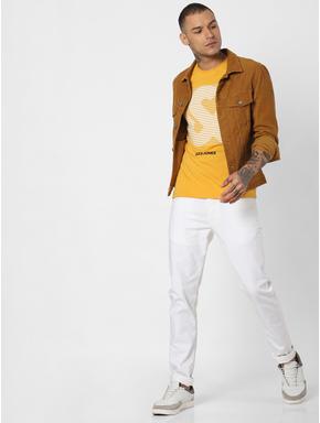 Yellow Logo Print Crew Neck T-shirt