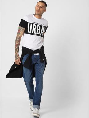 White Urban Text Print Crew Neck T-shirt