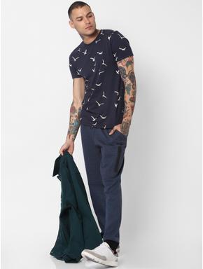 Navy Blue Bird Print Crew Neck T-shirt