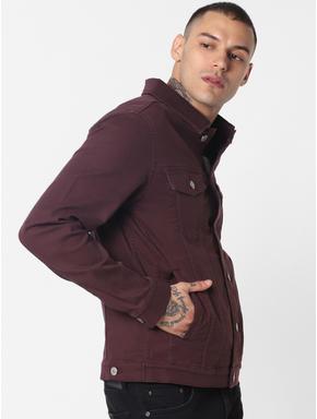 Burgundy Denim Jacket