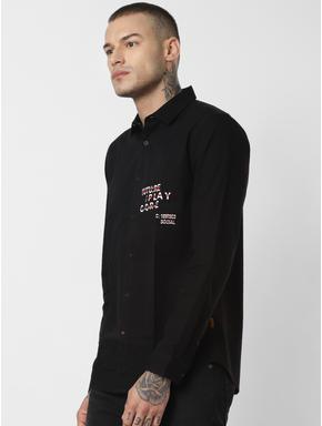 Black Text Print Full Sleeves Shirt