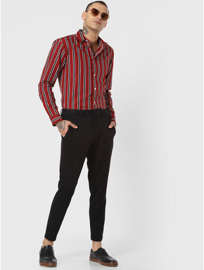 Red Striped Full Sleeves Shirt