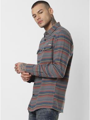 Grey Striped Full Sleeves Shirt